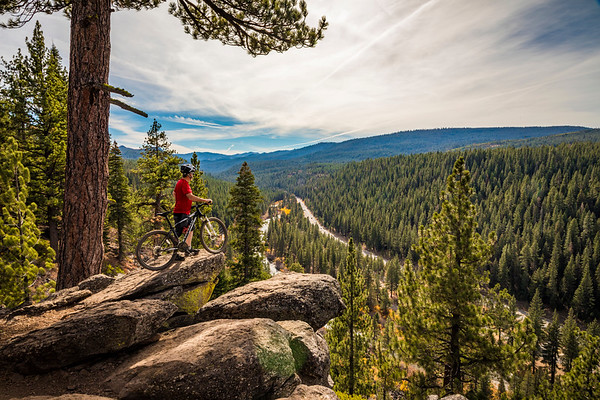 Mountain Biker Man along the Sawtooth Trail overlooking the Truckee River