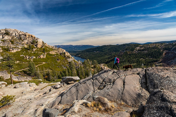 Donner Lake Summit Hiker Women and Dog along the Pacific Crest Trail - PCT and Truckee
