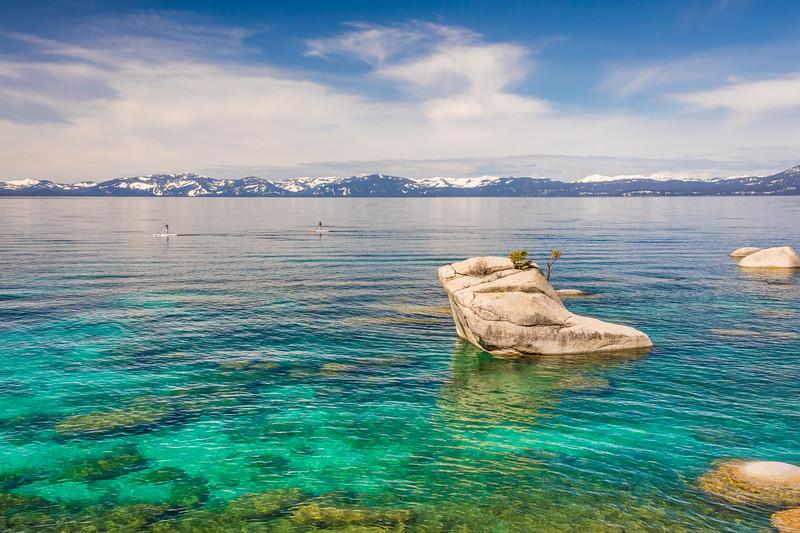 Paddleboarding along Bonsai Rock Lake Tahoe