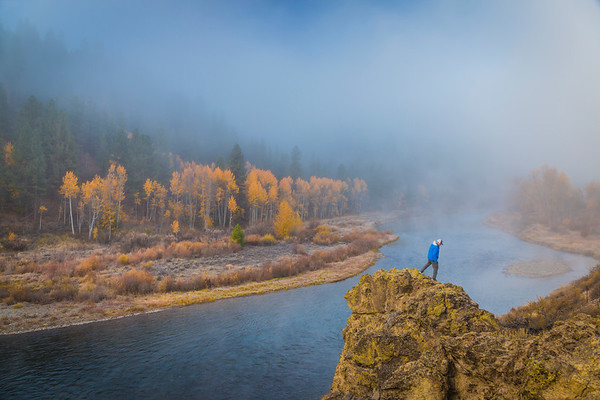 Truckee River in the Fall with man on rocks