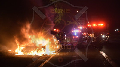North Massapequa F.D. Car Fire Westbound Southern State Parkway at Exit 30  8/5/17