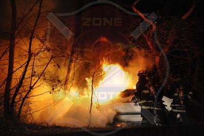 North Massapequa Fire Dept. MVA w/ Car Fire Eastbound Southern State Parkway at Exit 29S Hicksville Rd. 1/7/12