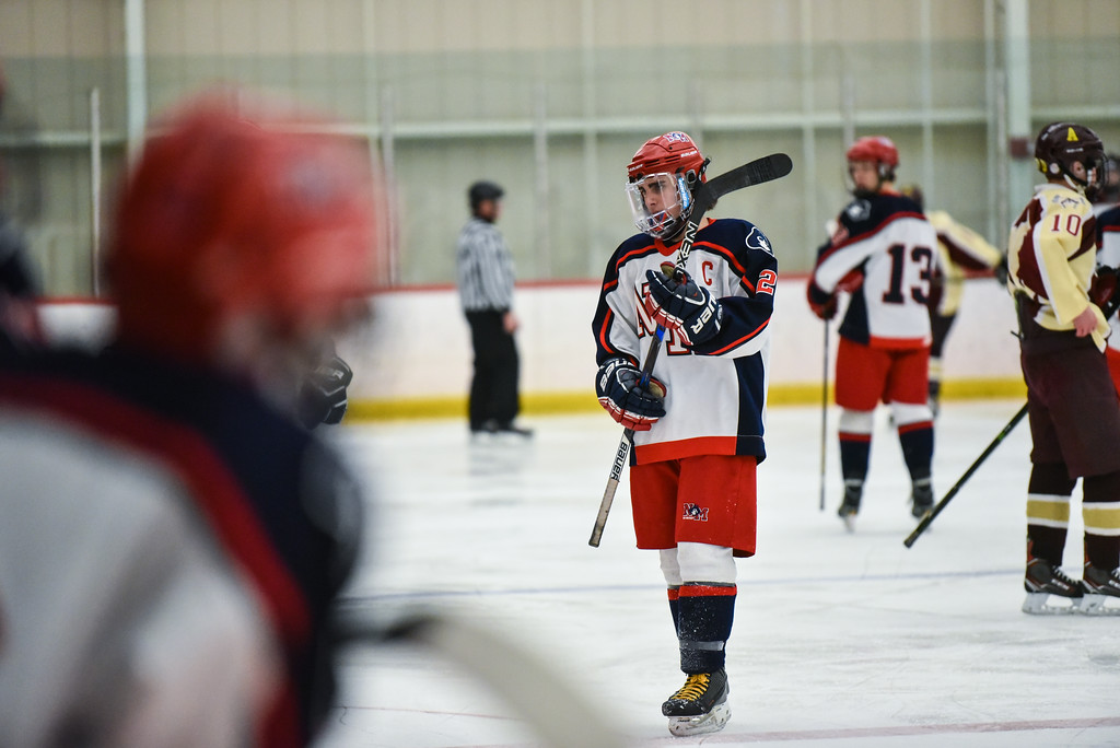 . (02/12/18 GROTON MA) Declan Delaney of North Middlesex heads to the penalty box in the middle of the second period in Monday\'s game at home against Algonquin.  SENTINEL & ENTERPRISE JEFF PORTER