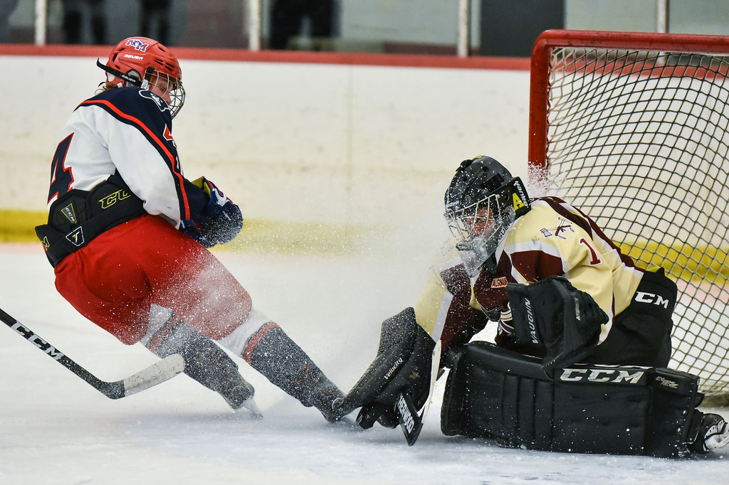 . (02/12/18 GROTON MA) Kyle Templeton (left) of North Middlesex stops in front of Algonquin goalie Matt Bogdanski after a shot on net in the middle of the second period in Monday\'s game at Groton School.  SENTINEL & ENTERPRISE JEFF PORTER