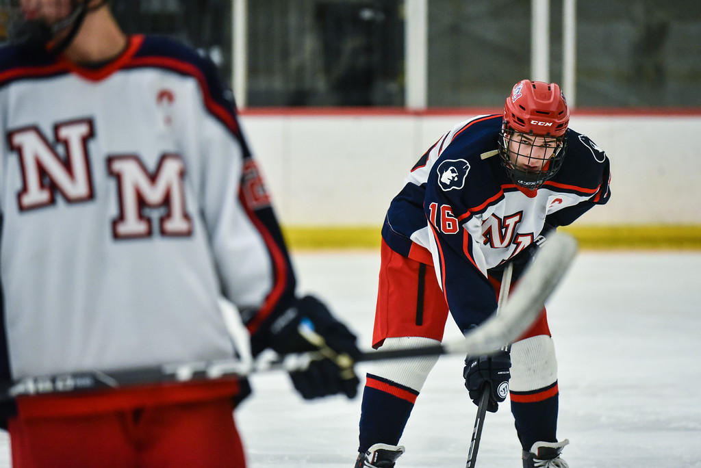 . (02/12/18 GROTON MA) Matt Devito of North Middlesex lines up in his offensive end in Monday\'s game at home against Algonquin.  SENTINEL & ENTERPRISE JEFF PORTER