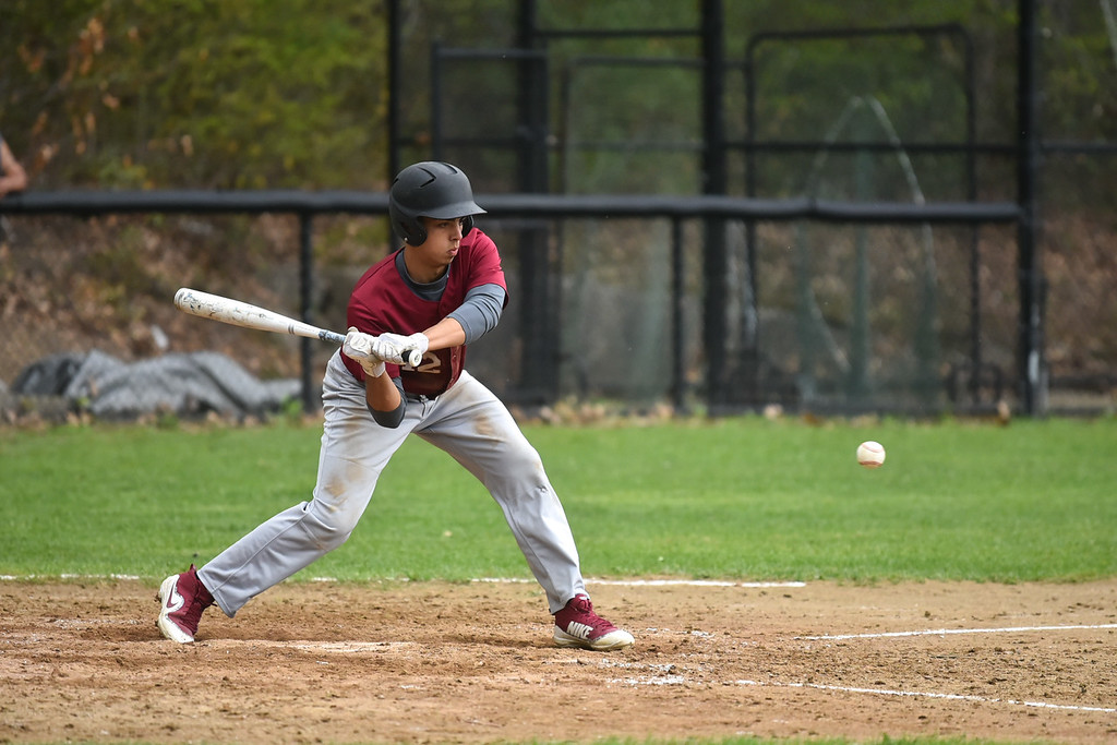 . Anthony Silverio of Fitchburg swings at the ball during Monday\'s varsity baseball match up between Fitchburg and North Middlesex at Fitchburg High School.  SENTINEL & ENTERPRISE JEFF PORTER