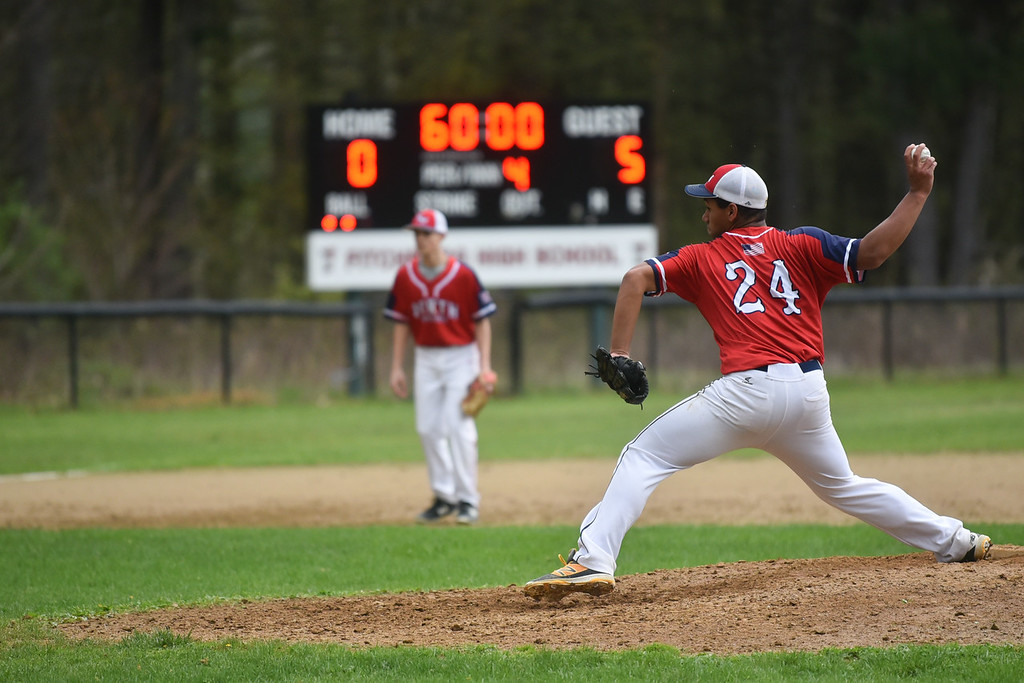 . North Middlesex pitcher Brenden Sullivan pitches the ball at the top of the 4th during Monday\'s varsity baseball match up between Fitchburg and North Middlesex at Fitchburg High School.  SUN/JEFF PORTER
