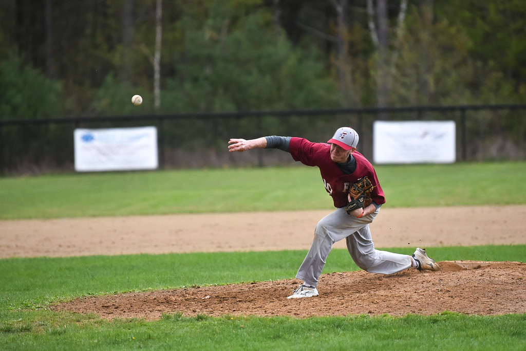. Fitchburg pitcher Sage Bray sends the ball over the plate during Monday\'s varsity baseball match up between Fitchburg and North Middlesex at Fitchburg High School.  SENTINEL & ENTERPRISE JEFF PORTER