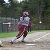 Hannah Wilder of Fitchburg hits the ball down the third base line during Monday's varsity softball match up between Fitchburg and North Middlesex at Fitchburg High School.  SENTINEL & ENTERPRISE JEFF PORTER