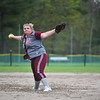 Hannah Faulkner of Fitchburg winds up for the pitch during Monday's varsity softball match up between Fitchburg and North Middlesex at Fitchburg High School.  SENTINEL & ENTERPRISE JEFF PORTER