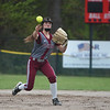 Fitchburg short stop Kammarie Pelland throws out the runner at first during Monday's varsity softball match up between Fitchburg and North Middlesex at Fitchburg High School.  SENTINEL & ENTERPRISE JEFF PORTER