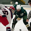 North Middlesex senior Donald Frederick (left) faces off against Nashoba junior Ryan LeBlanc during the first period of play in a boys varsity hockey game between North Middlesex and Nashoba at the Wallace Civic Center in Fitchburg on Wedneday Jan. 25, 2017. (Sentinel & Enterprise photo/Jeff Porter)