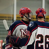 North Middlesex senior Matthew McCarthy (left) celebrates a goal with teammate Donald Frederick (right) during a boys varsity hockey game between North Middlesex and Nashoba at the Wallace Civic Center in Fitchburg on Wedneday Jan. 25, 2017. (Sentinel & Enterprise photo/Jeff Porter)