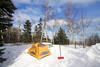 It really helps take a shovel along when you wintercamp.