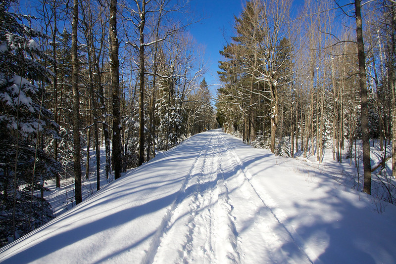 This is the snowmobile trail that leaves from the parking lot in Jay Cook State Park. It's a spur that goes up to the main trail.