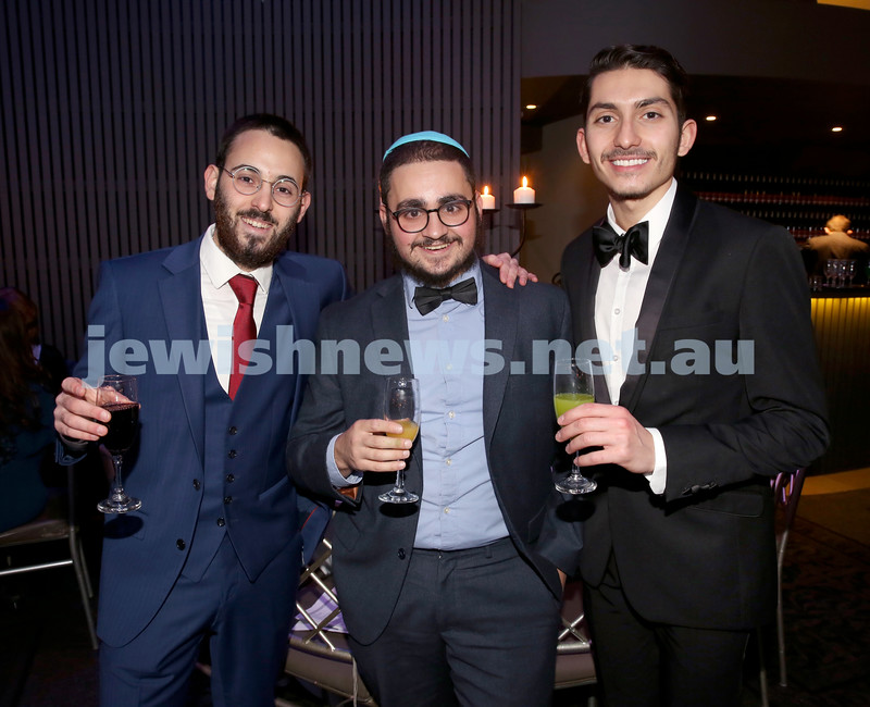 Chabad Noth Shore's Friends Of Chabad Gala Dinner at Curzon Hall. (from left) Levi Setton, Mendel Kugel, Mendy Amsellem. Pic Noel Kessel.