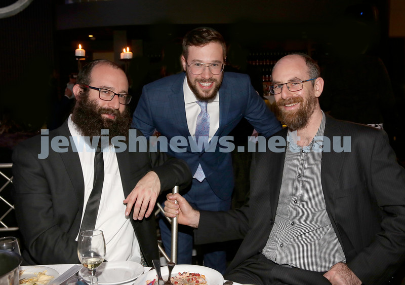 Chabad Noth Shore's Friends Of Chabad Gala Dinner at Curzon Hall. Eli Gescheit, Rabbi Moshe Angyalfi, Eli Lowinger. Pic Noel Kessel.