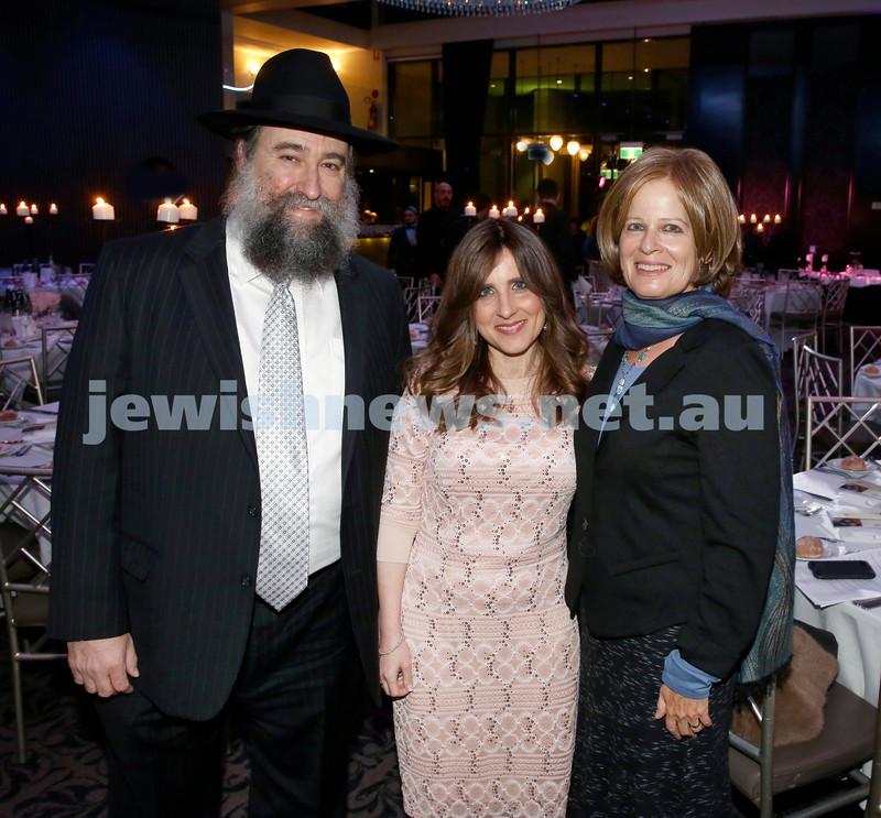 Chabad Noth Shore's Friends Of Chabad Gala Dinner at Curzon Hall. (from left) Rabbi Nochum Schapiro, Fruma Schapiro, Sherri Mandell. Pic Noel Kessel