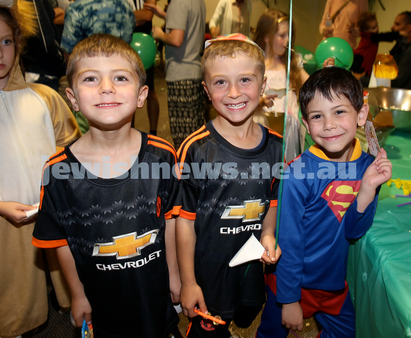 Chabad North Shore Purim in the Jungle Party. (from left) Jaemin Turner, Aaron Turner, Jacob Leibowitz. Pic Noel Kessel.