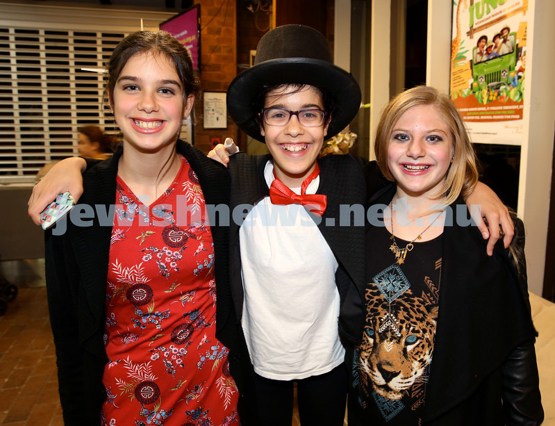 North Shore Chabad Purim In the jungle party. (from left) Ruby-Sky Forbes, Noah Gabay, Ilana Jacobs. Pic Noel Kessel.