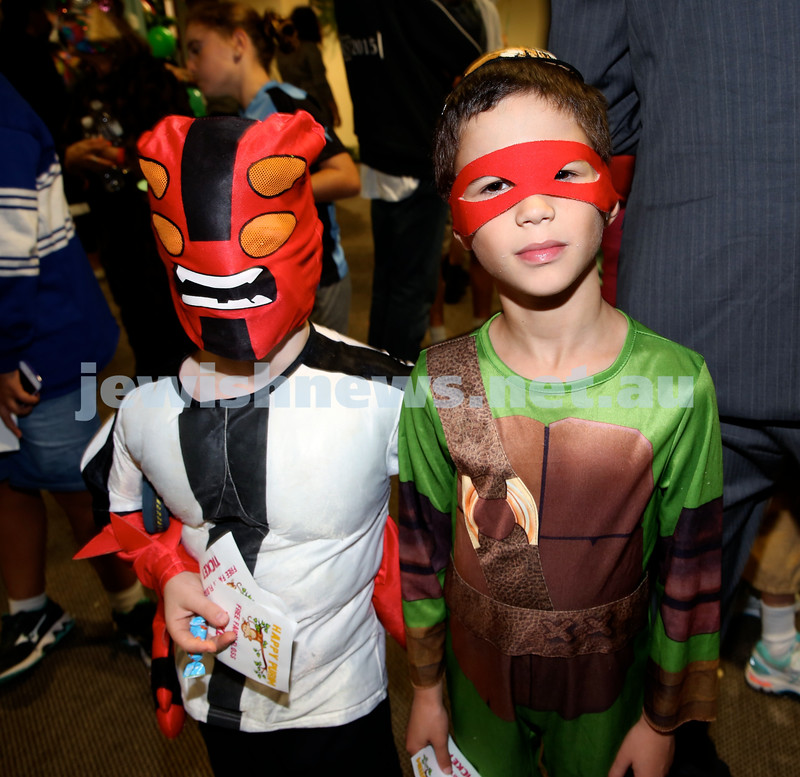 Chabad North Shore Purim in the Jungle Party. Yam Tchelet (L) & Perry Alexander. Pic Noel Kessel.