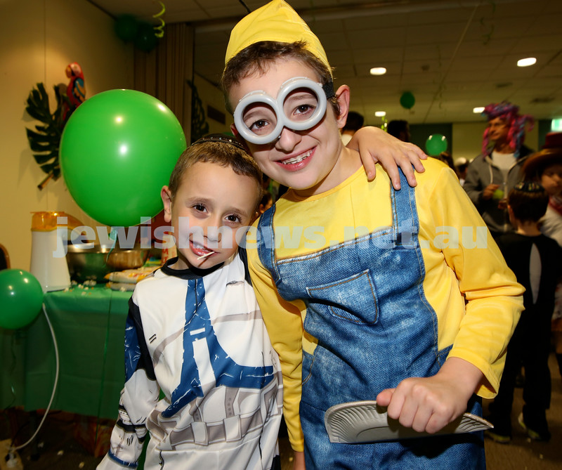 Chabad North Shore Purim in the Jungle Party. Avishai Kessel (L) & Levi Gescheit. Pic Noel Kessel.