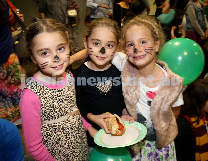 Chabad North Shore Purim in the Jungle Party. (from left) Talia Hilele, Emily Hilel , Ariela Cohen. Pic Noel Kessel.