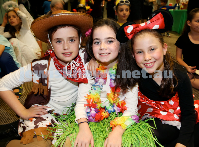 North Shore Chabad Purim In the jungle party. (from left) Liorah Kessel, Dina Lowinger, Chana Schapiro. Pic Noel Kessel.