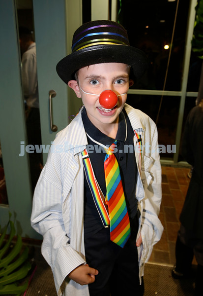 Chabad North Shore Purim in the Jungle Party. Micki Goodman clowning around. Pic Noel Kessel.