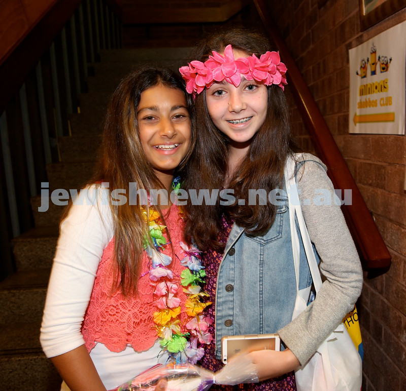 Chabad North Shore Purim in the Jungle Party. Hannah Otmy (L) & Keren Dorfan. Pic Noel Kessel.
