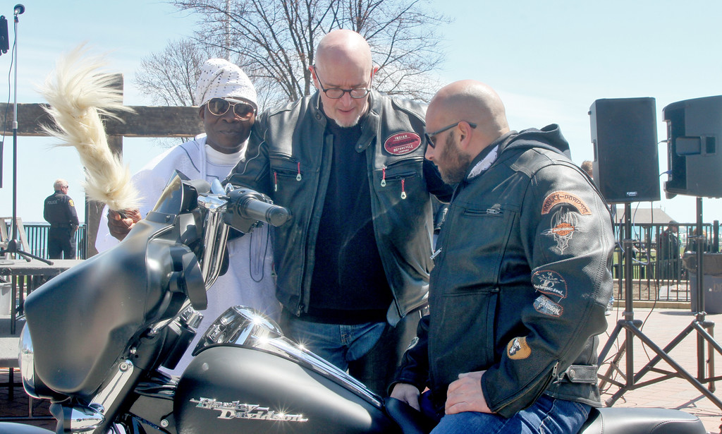 . Ron Haskett gets his Bike Blessed bo Dr O