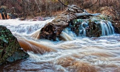 "A small section of the rapids that make up ""Keep Smiling Falls"" on Amity Creek, just off of Seven Bridges Road."
