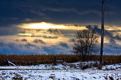 Early winter sunset near Brookings, South Dakota.