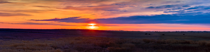 Sunset over the prairie of South Dakota.