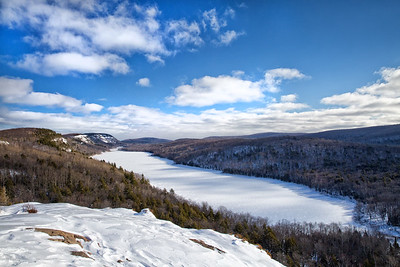 Lake of the Clouds as viewed on a snowmobiling trip to the Porcupine Mountains in the UP.