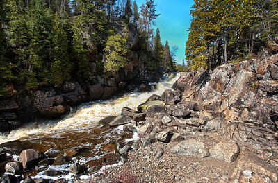 The South Camp Falls still rage with spring run-off on the Beaver River near the Superior Hiking Trail.