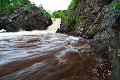 """The Shallows Waterfall"" on the Lester River swelling from the recent rains in the Duluth, MN area. 1/2"