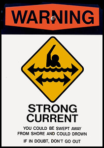 Warning sign  Strong Current North Shore of O'ahu, Hawai'i