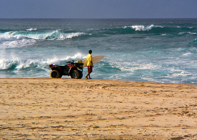 Lifeguard at Sunset Beach ready to rescue someone if needed  North Shore of O'ahu, Hawai'i