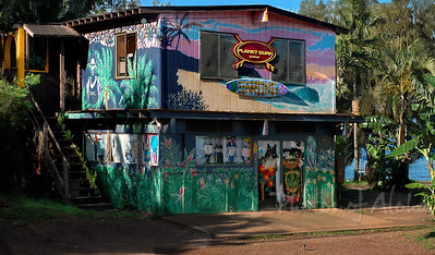 Pupukea and Kam Hwy  The wonderful artwork by Drewtoons on Planet Surf, across from Shark's Cove sadly has been painted over in with grey paint Hale'iwa, North Shore of O'ahu, Hawai'i  (no longer there)