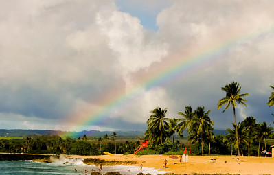 Rainbow Ali'i Beach with a rainbow overhead  Hale'iwa, North Shore of O'ahu, Hawai'i 2004