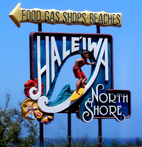 "Haleiwa sign from 2003 - stolen long ago - This sign was located as you're driving down the  ""Pineapple Hwy"" into Hale'iwa from Honolulu. Unfortunately these original Hale'iwa signs were stolen. A couple of years ago, an artist from Japan, recreated the signs that are now standing at either side of Hale'iwa Town."