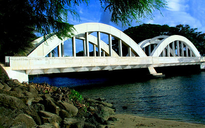 Anahulu Stream Bridge in Hale'iwa on the North Shore of Oahu, Hawaii