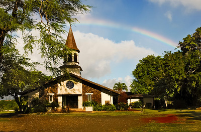 Lili'uokalani Church with a rainbow overhead  Hale'iwa, North Shore of O'ahu, Hawai'i 2004