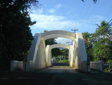 Rainbow Bridge over the Anahulu River Haleiwa Town 2007