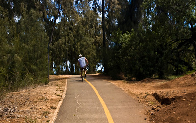 Biking along the North Shore Bike Path