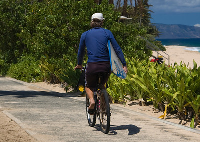 Man, Bike, and Board  Sunset Beach