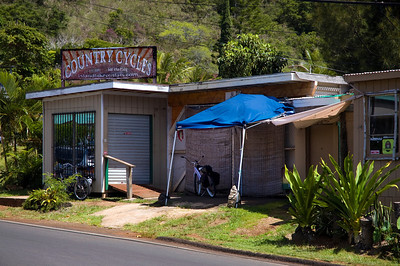 Country Cycles  is on Pupukea Road - mauka of the Kamehameha Hwy by Shark's Cove, across from Foodland - Sorry, this is a restaurant now.  North Shore, Oahu, Hawaii