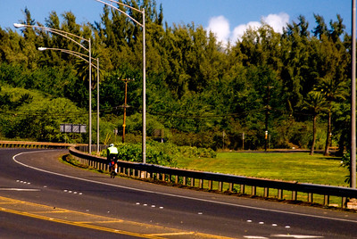 Biking along the Kam Hwy - We on the North Shore would sure like a SAFE Bike Path all the way from Sunset Beach to Haleiwa Town  This is one of the 'better' sections