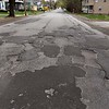 Some of the many potholes on North Street in Leominster. ENTINEL & ENTERPRISE/JOHN LOVE